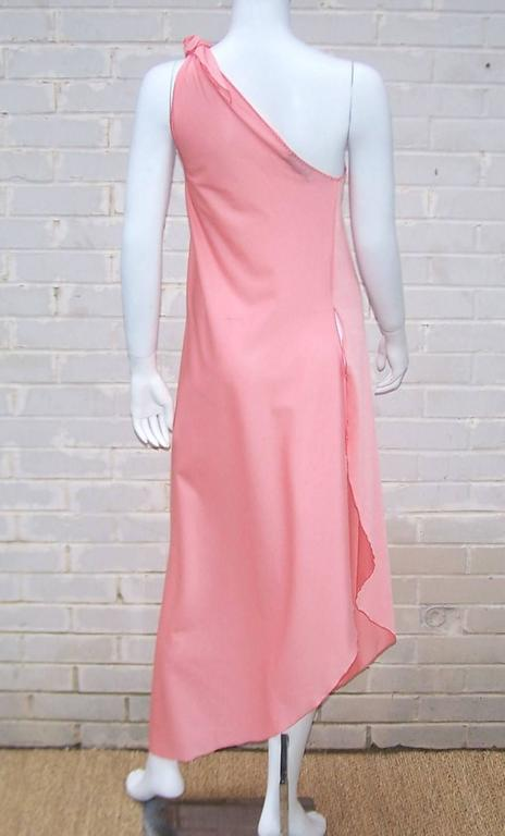 1970s Stephen Burrows Disco Era Grecian One-Shoulder Gown For Sale 1