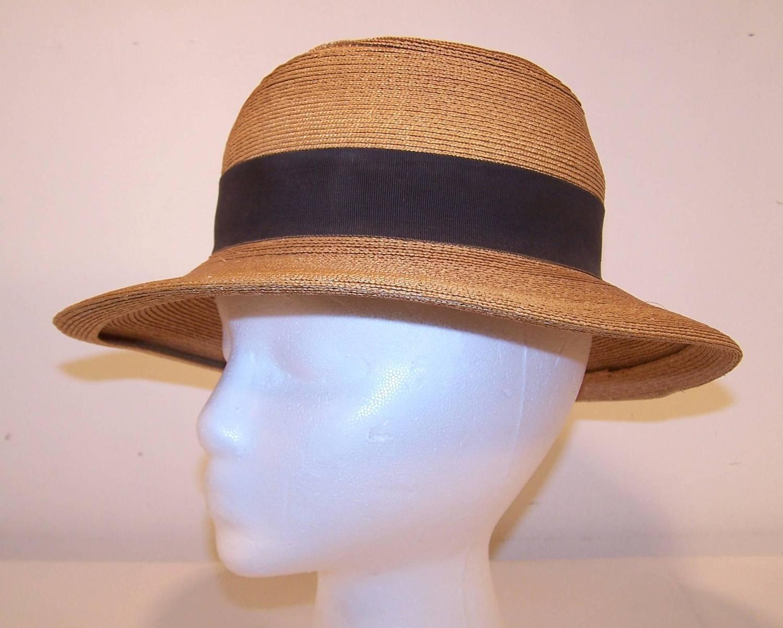 1970's Frank Olive Stylized Straw Fedora Hat at 1stdibs