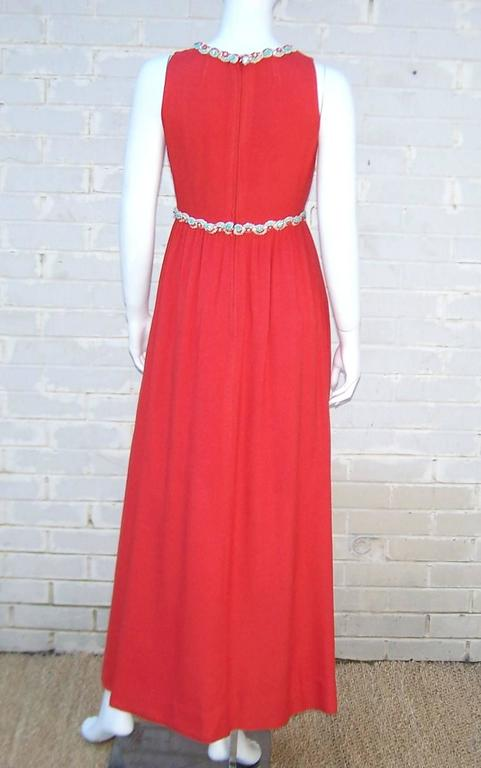 1960 S Neiman Marcus Coral Red Linen Dress With