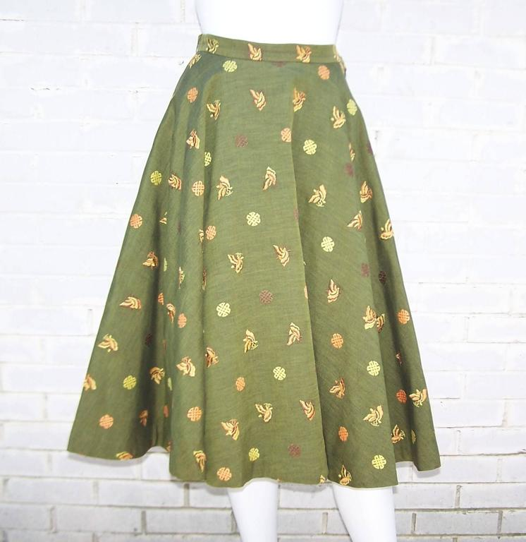 1950's Asian Inspired Full Circle Skirt With Embroidered Butterflies  3