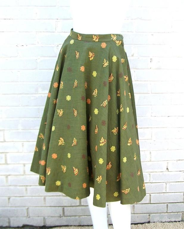 1950's Asian Inspired Full Circle Skirt With Embroidered Butterflies  4