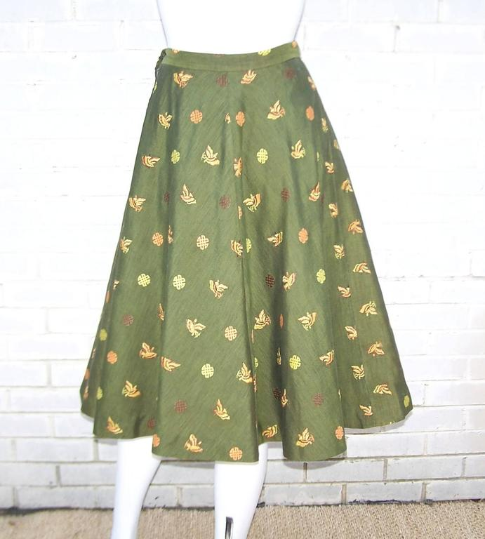 1950's Asian Inspired Full Circle Skirt With Embroidered Butterflies  5