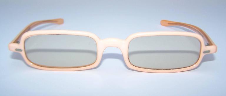 1960's Mod French Fleshtone Peach Sunglasses 3