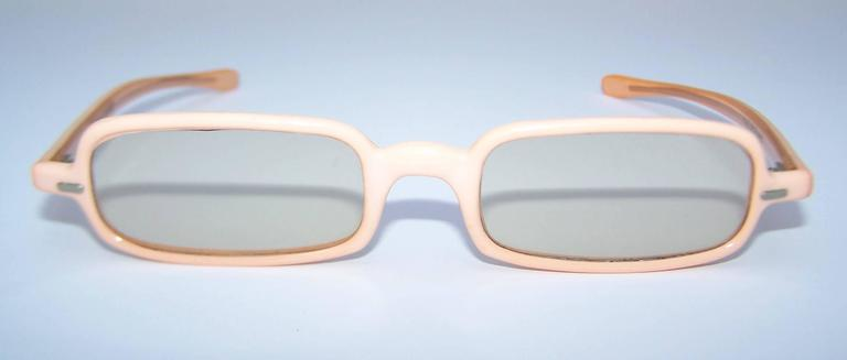 Gray 1960's Mod French Fleshtone Peach Sunglasses For Sale