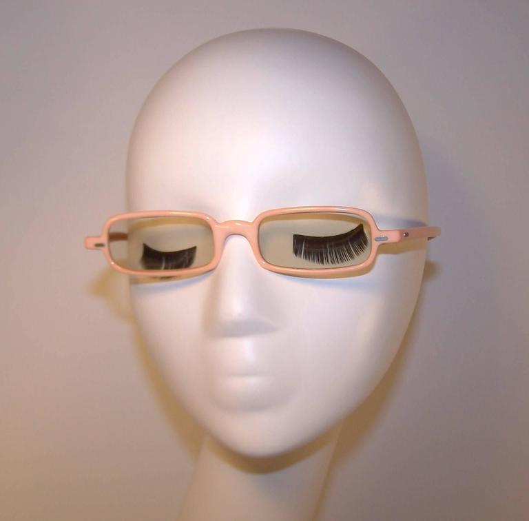 1960's Mod French Fleshtone Peach Sunglasses For Sale 3