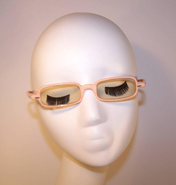 1960's Mod French Fleshtone Peach Sunglasses For Sale 4
