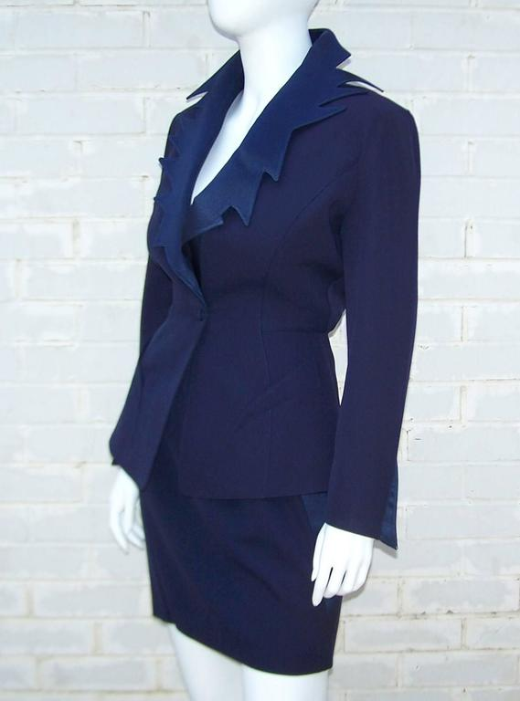 Women's C.1990 Thierry Mugler Midnight Blue Tuxedo Style Suit With 'Shazam' Collar For Sale