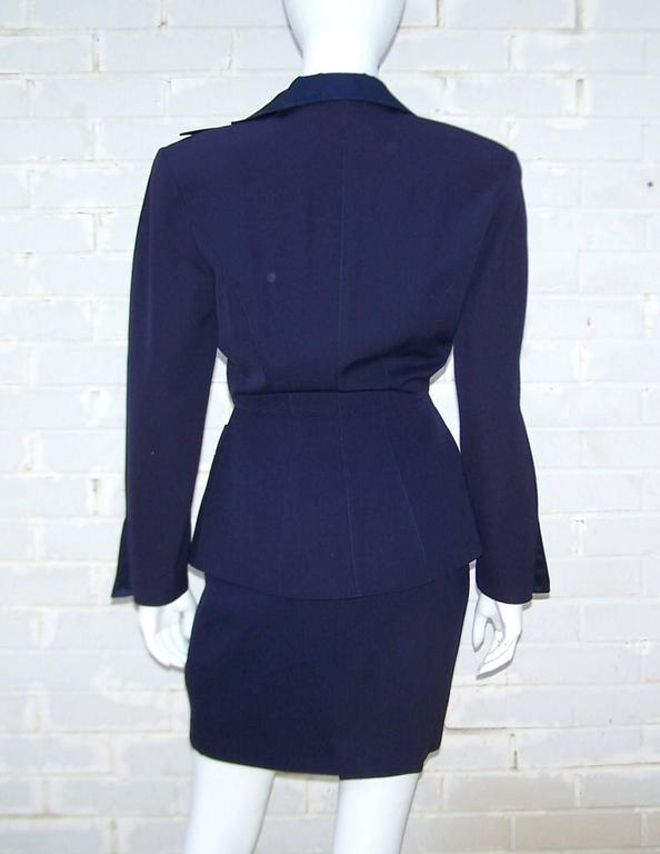 C.1990 Thierry Mugler Midnight Blue Tuxedo Style Suit With 'Shazam' Collar For Sale 1