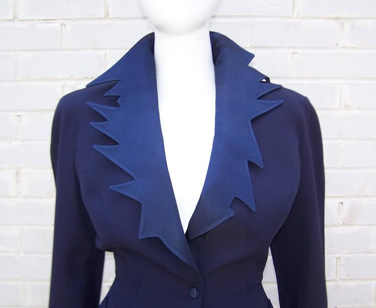 C.1990 Thierry Mugler Midnight Blue Tuxedo Style Suit With 'Shazam' Collar For Sale 2