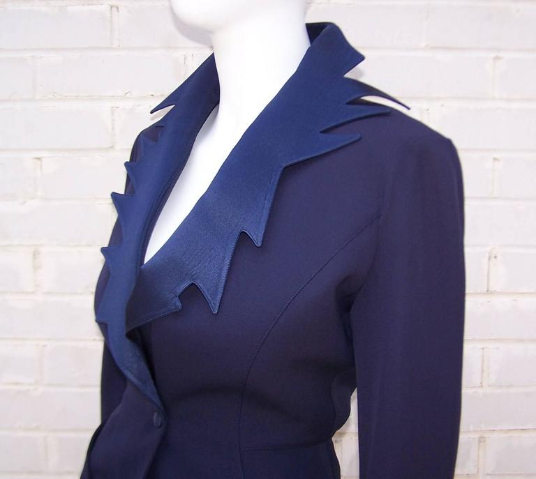 C.1990 Thierry Mugler Midnight Blue Tuxedo Style Suit With 'Shazam' Collar For Sale 3