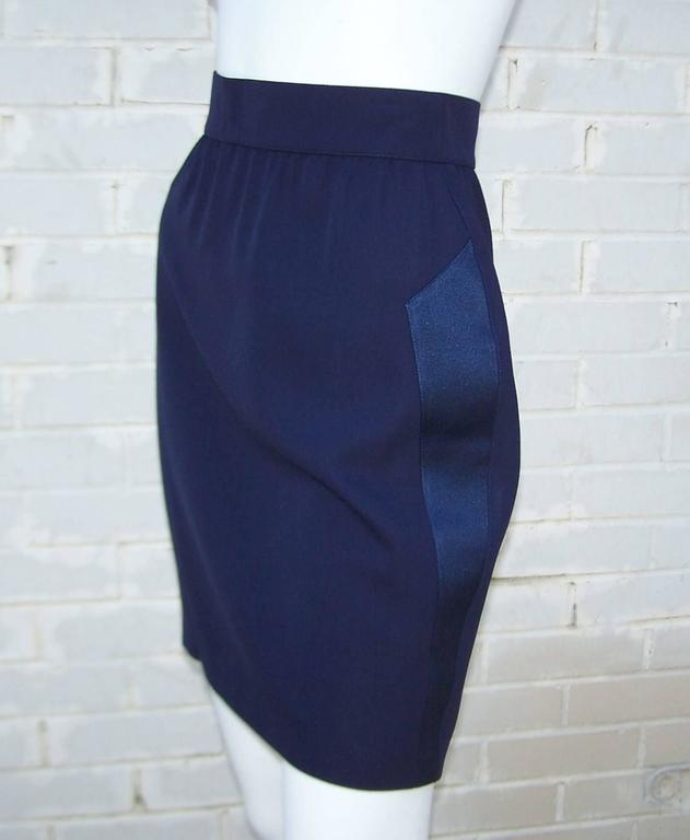 C.1990 Thierry Mugler Midnight Blue Tuxedo Style Suit With 'Shazam' Collar For Sale 5