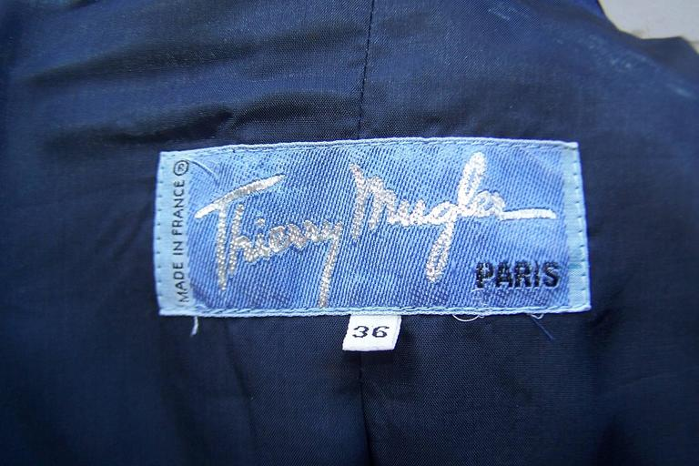 C.1990 Thierry Mugler Midnight Blue Tuxedo Style Suit With 'Shazam' Collar For Sale 6