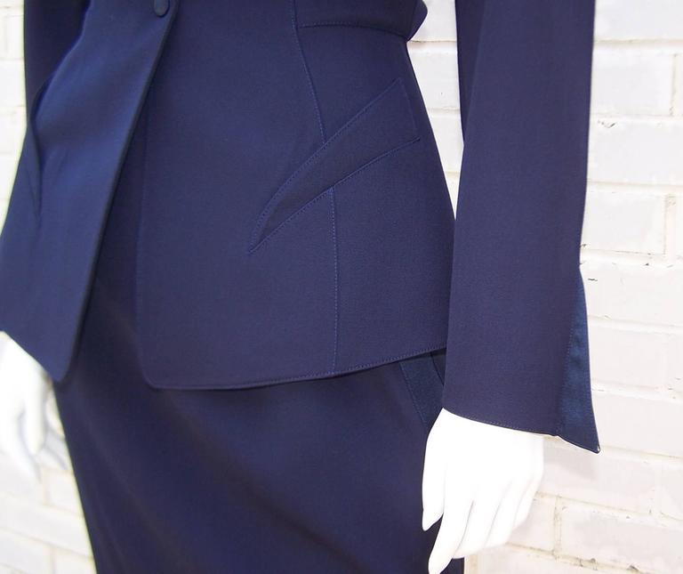 C.1990 Thierry Mugler Midnight Blue Tuxedo Style Suit With 'Shazam' Collar For Sale 4