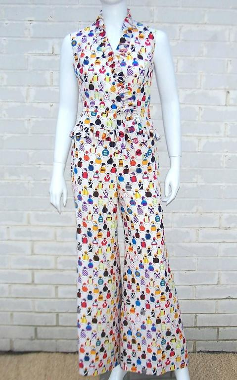 1970's 'Day At The Races' Silk Bell Bottom Pants Ensemble With Jockey Print 2