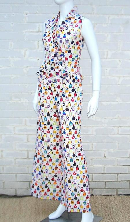 Gray 1970's 'Day At The Races' Silk Bell Bottom Pants Ensemble With Jockey Print For Sale