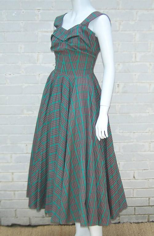 C 1950 Red And Green Plaid Micro Pleated Full Skirted