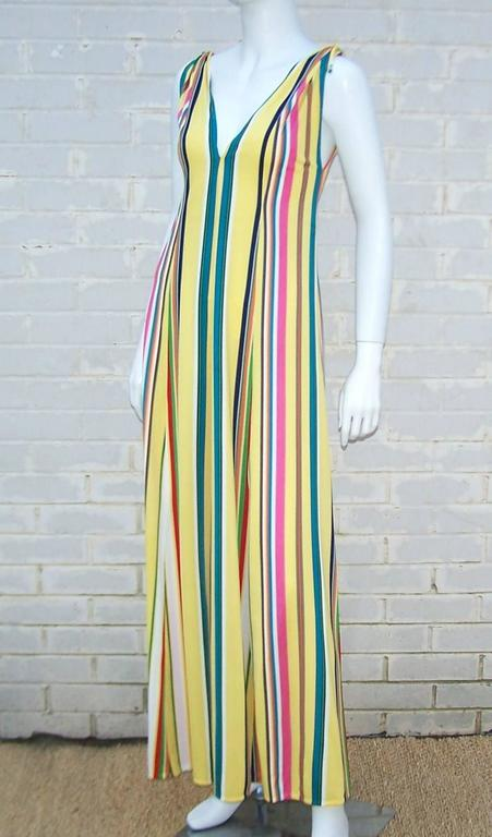 Beige Vibrantly Striped 1970's Clovis Ruffin Jersey Knit Lounger Dress For Sale