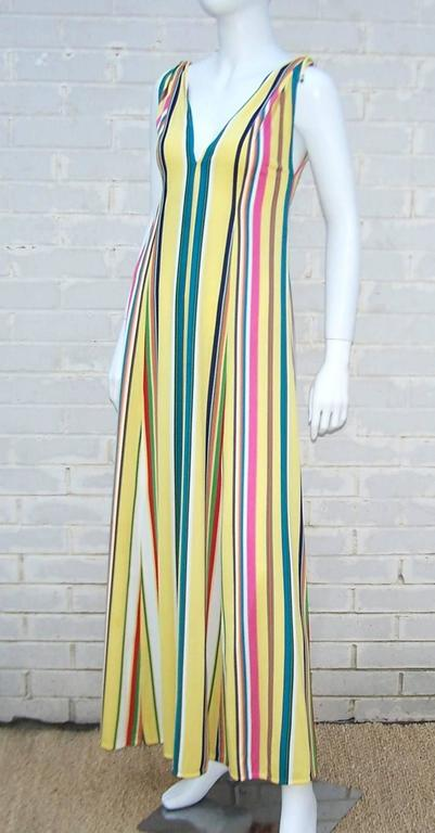 Vibrantly Striped 1970's Clovis Ruffin Jersey Knit Lounger Dress In Excellent Condition For Sale In Atlanta, GA