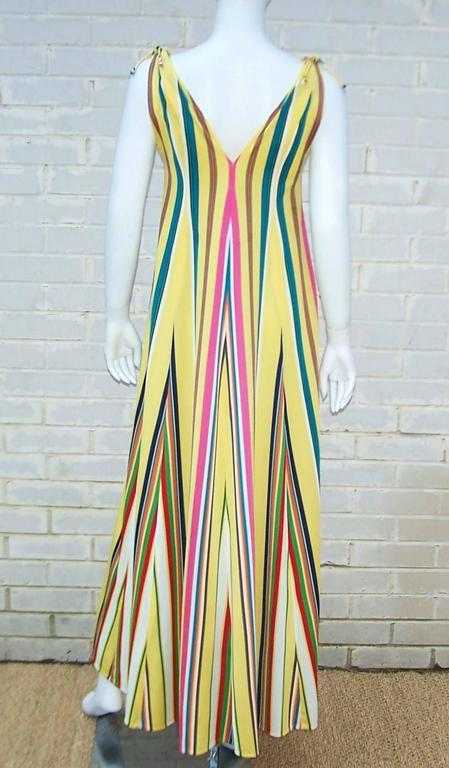 Women's Vibrantly Striped 1970's Clovis Ruffin Jersey Knit Lounger Dress For Sale