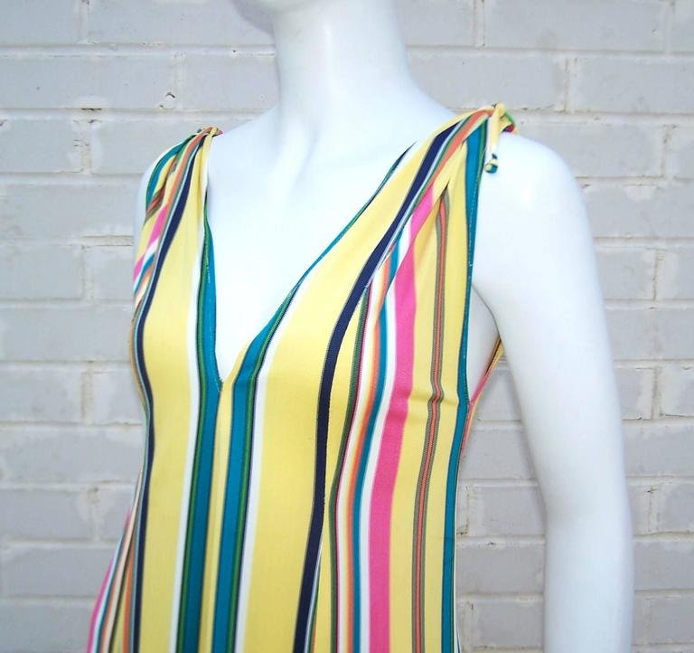 Vibrantly Striped 1970's Clovis Ruffin Jersey Knit Lounger Dress For Sale 3