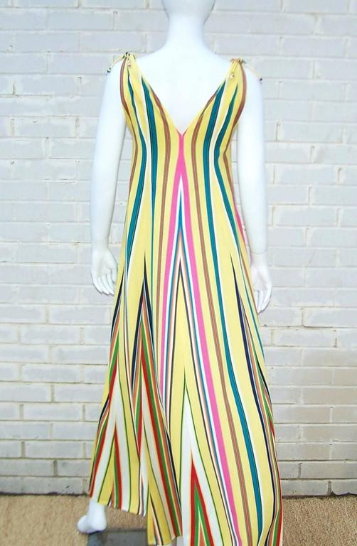 Vibrantly Striped 1970's Clovis Ruffin Jersey Knit Lounger Dress For Sale 1