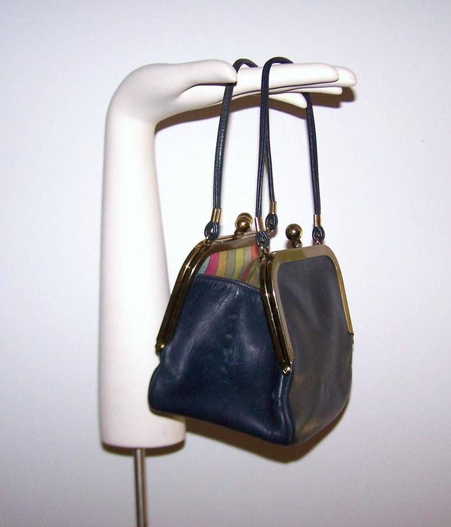 1960 S Bonnie Cashin Double Kiss Lock Mini Leather Handbag
