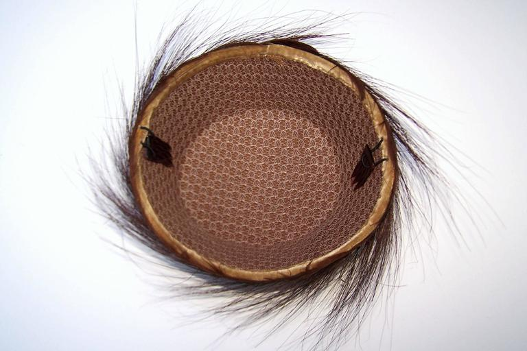 1940's Egret Feather Fascinator Bird's Nest Style Hat For Sale 3