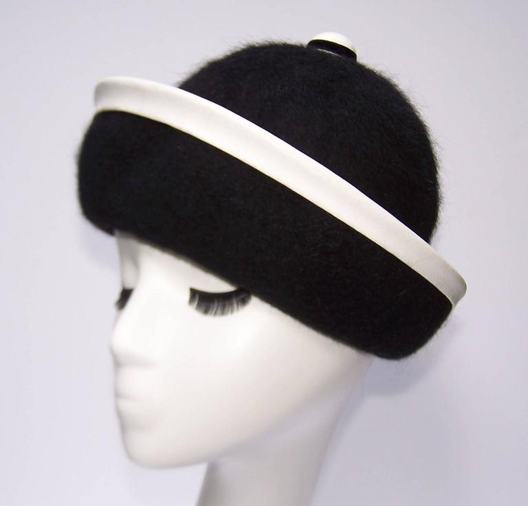 C.1960 Henry Pollak Mod Black Mohair Hat With White Leather Trim 2