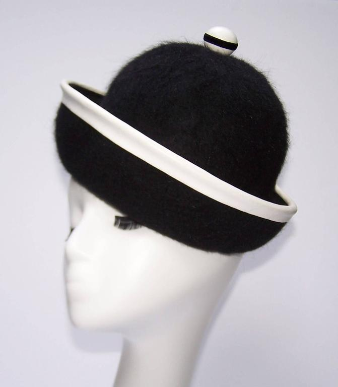 C.1960 Henry Pollak Mod Black Mohair Hat With White Leather Trim 3