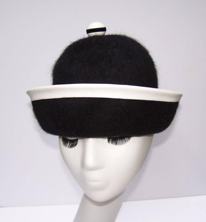 C.1960 Henry Pollak Mod Black Mohair Hat With White Leather Trim 4