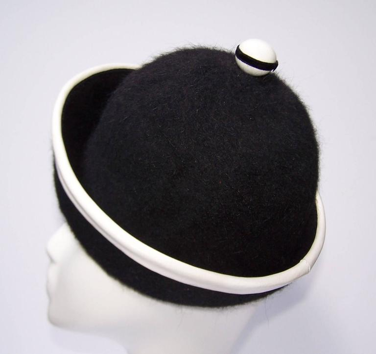 C.1960 Henry Pollak Mod Black Mohair Hat With White Leather Trim 5