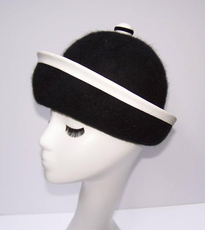 C.1960 Henry Pollak Mod Black Mohair Hat With White Leather Trim 6