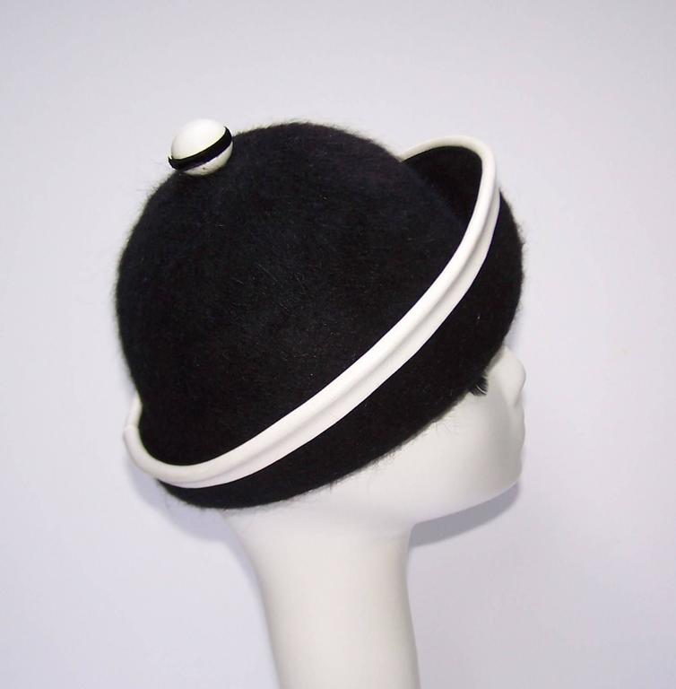 C.1960 Henry Pollak Mod Black Mohair Hat With White Leather Trim 7