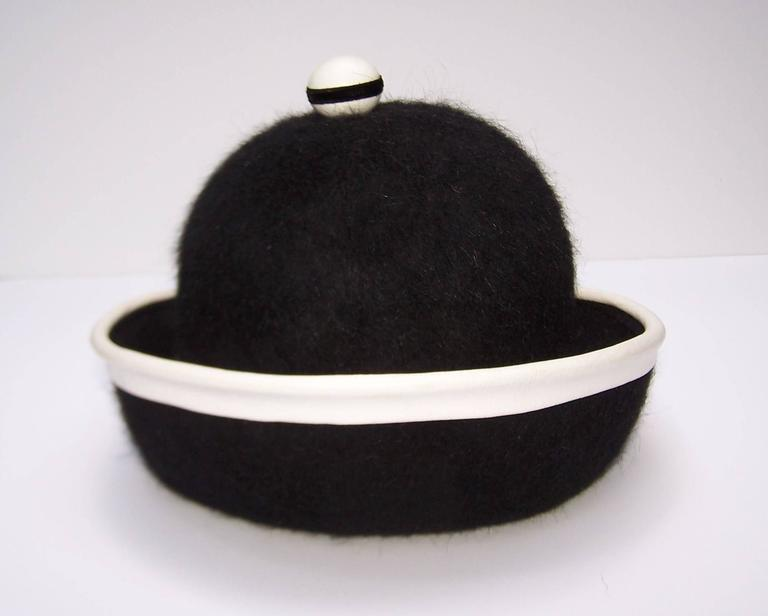 C.1960 Henry Pollak Mod Black Mohair Hat With White Leather Trim 8