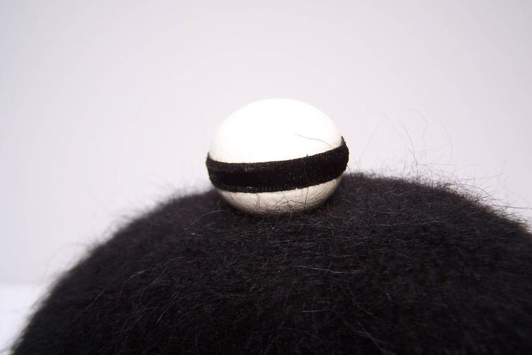 C.1960 Henry Pollak Mod Black Mohair Hat With White Leather Trim 9