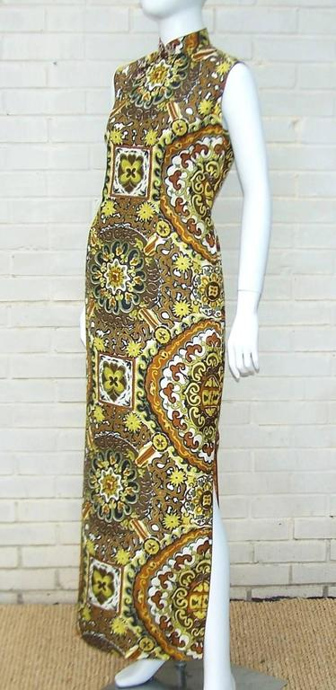 C 1970 Cheongsam Exotic Silk Tiki Dress For Sale At 1stdibs