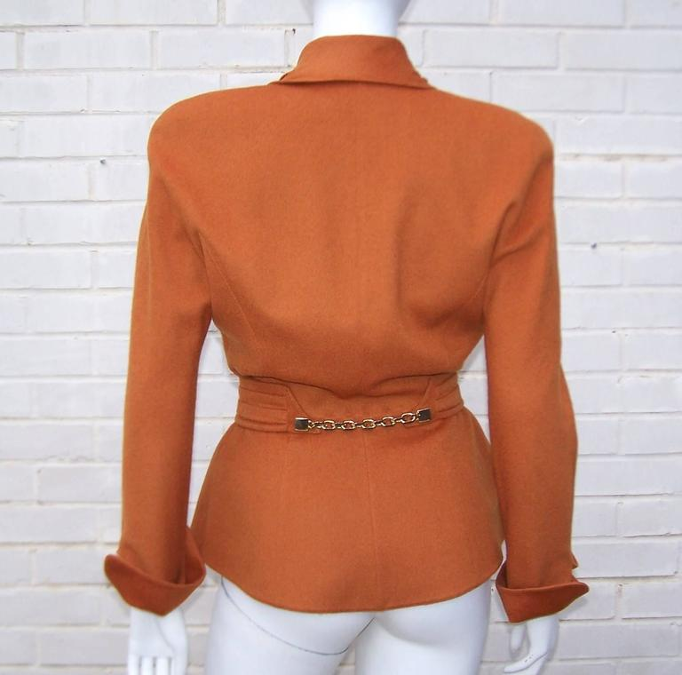 1980's Thierry Mugler Pumpkin Wool Wasp Waist Jacket With Chain Closure 3