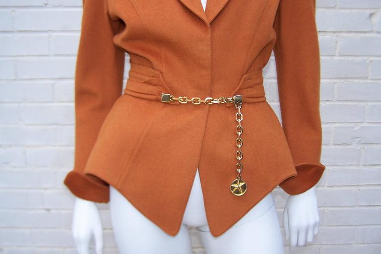 Women's 1980's Thierry Mugler Pumpkin Wool Wasp Waist Jacket With Chain Closure For Sale