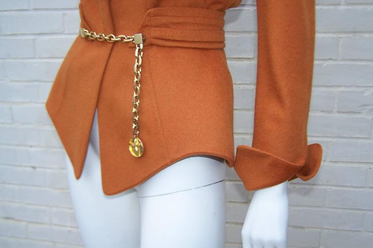 1980's Thierry Mugler Pumpkin Wool Wasp Waist Jacket With Chain Closure For Sale 1