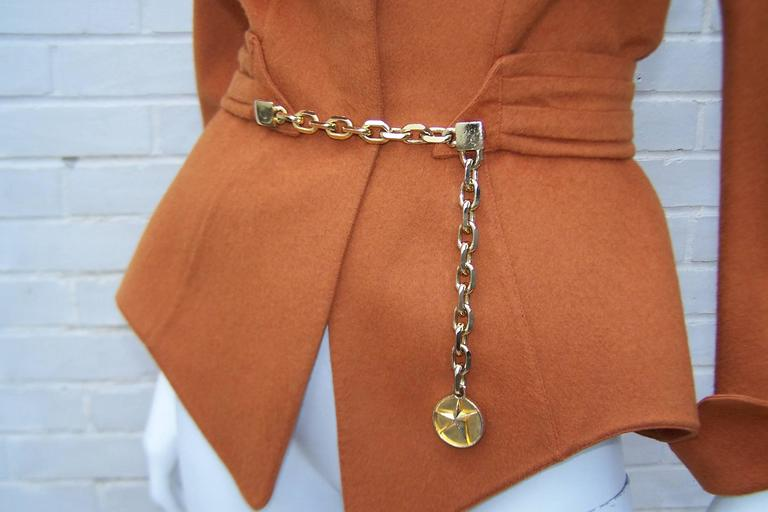 1980's Thierry Mugler Pumpkin Wool Wasp Waist Jacket With Chain Closure For Sale 2