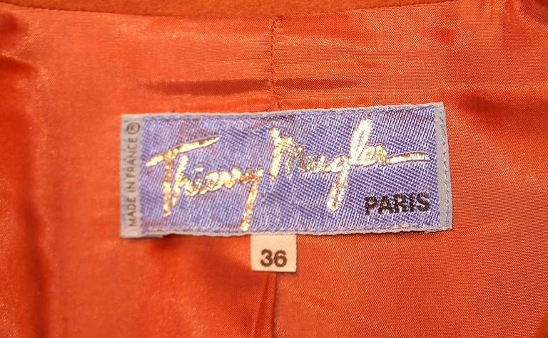 1980's Thierry Mugler Pumpkin Wool Wasp Waist Jacket With Chain Closure For Sale 3