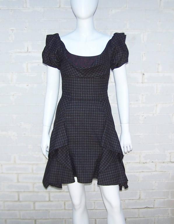 Flirty Zac Posen Punk Style Micro Plaid Dress 2