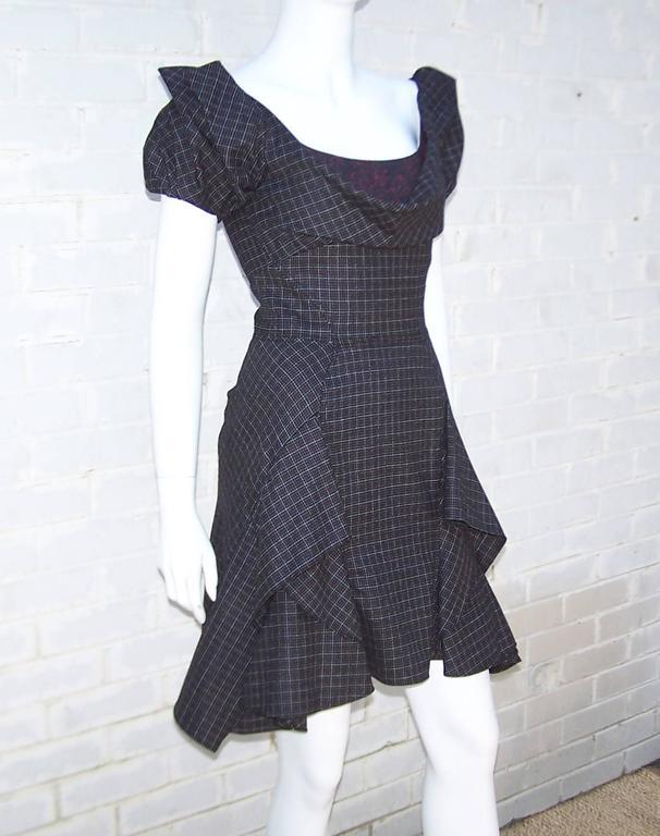 Flirty Zac Posen Punk Style Micro Plaid Dress 3
