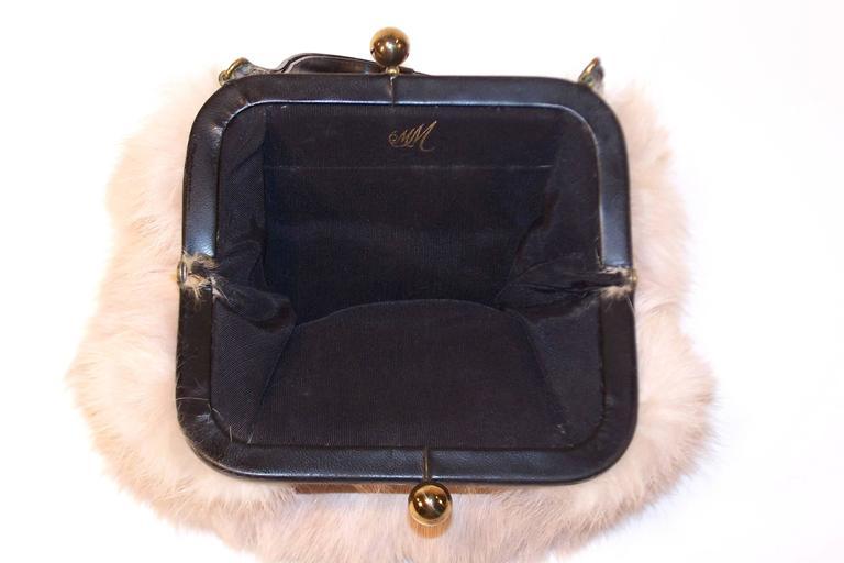 Fluffy 1950's Morris Moskowitz Pink Fur & Black Leather Handbag For Sale 2