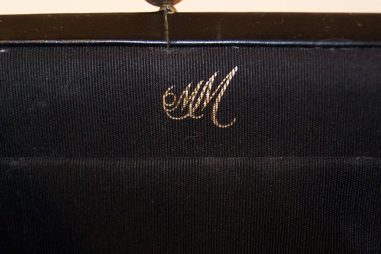 Fluffy 1950's Morris Moskowitz Pink Fur & Black Leather Handbag For Sale 3