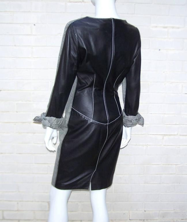 C.1990 Alma Couture 'Business In The Front Party In The Back' Leather Dress In Excellent Condition For Sale In Atlanta, GA