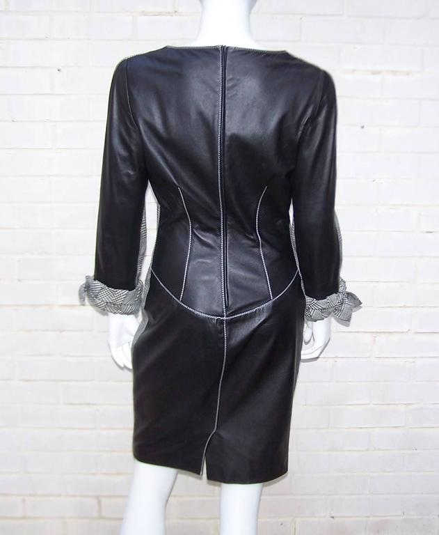Women's C.1990 Alma Couture 'Business In The Front Party In The Back' Leather Dress For Sale