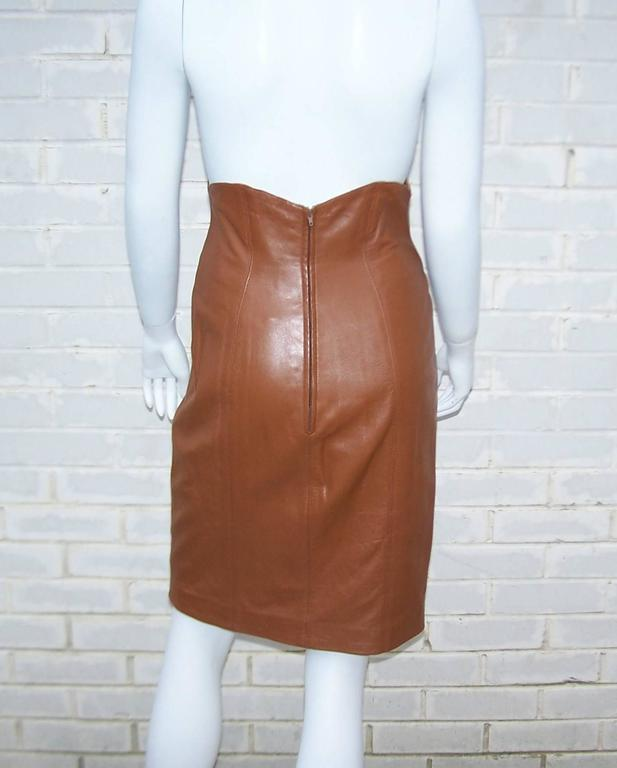 leather suit with stylized jacket and high waist skirt for sale at