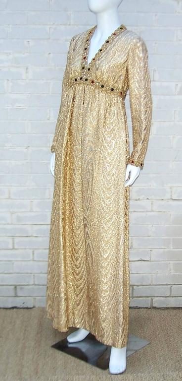 C.1970 Anne Fogarty Gold Moire Style Empire Dress With Velvet & Rhinestone Trim 3