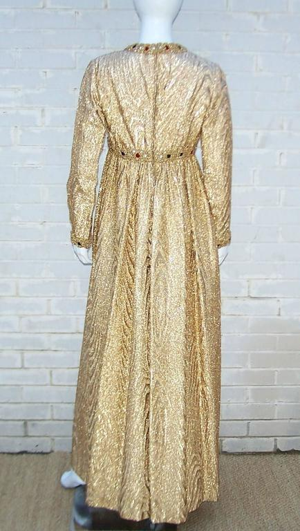 C.1970 Anne Fogarty Gold Moire Style Empire Dress With Velvet & Rhinestone Trim 4